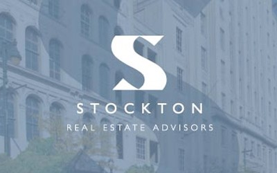 Stockton logo over faded building backgrounds